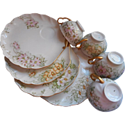 Hand Painted China Vintage Tennis Tea Snack Sets Plates Cups Signed