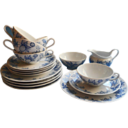 Mid Century Bavarian Schirnding China Blue White Cups Plates Coffee Klatsch Set
