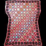 Vintage Granny Squares Afghan Wool Black Coral Multi