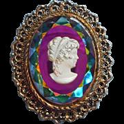 Vintage Iridescent Glass Intaglio Cameo Brooch Pin Pendant