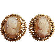 Shell Cameo Vintage Earrings Clip Ornate Filigree