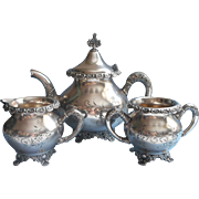 Victorian Tea Set Silver Ornate Rims Antique 1890s Teapot Creamer Sugar Bowl