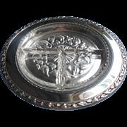 Art Deco 1936 Silver Glass Relish Vintage Meadowbrook Heather Pattern Oneida