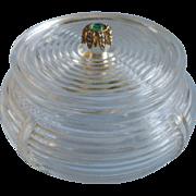 Art Deco Powder Jar Glass Jewel Top Vintage 1930s Vanity