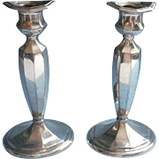 Silver Candlesticks Jennings Brothers Antique 1910s Pair Classic Handsome Worn
