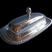 Silver Butter Dish Glass Insert Vintage W. Rogers International Rope Twist Rim