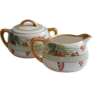 Dated 1913 Hand Painted China Sugar Creamer Set R.S. Germany Currants Berries