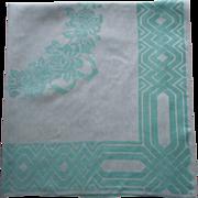 Art Deco Tablecloth Vintage Aqua Linen Damask Square Roses