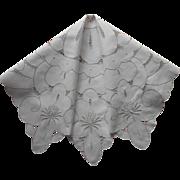 Cutwork Tea Tablecloth Vintage Ivory Color w Ecru Hand Embroidery
