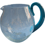 Midcentury Blenko Crackle Glass Pitcher Vintage 40 Oz Teal Handle