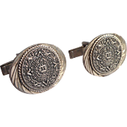 Sterling Cufflinks Silver Vintage Mexico Aztec Calendar Signed