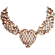Vintage Avon Barrera Statement Necklace Big Filigree Rhinestones Venetian Style