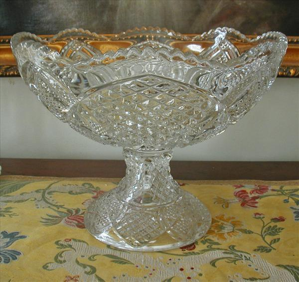 Huge Antique Pressed Glass Pedestal Compote EAPG Ideal For Holiday
