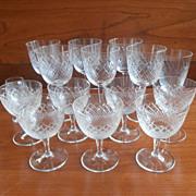 Cocktail Stemware Diamond Crosshatching Vintage Cut Glass Liquor 16 Pieces Mix of Sizes