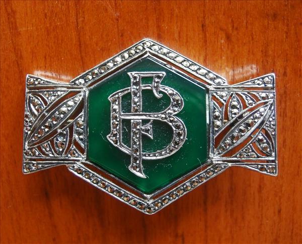 Art Deco Brooch Monogram F B or B F Silver Agate Marcasite