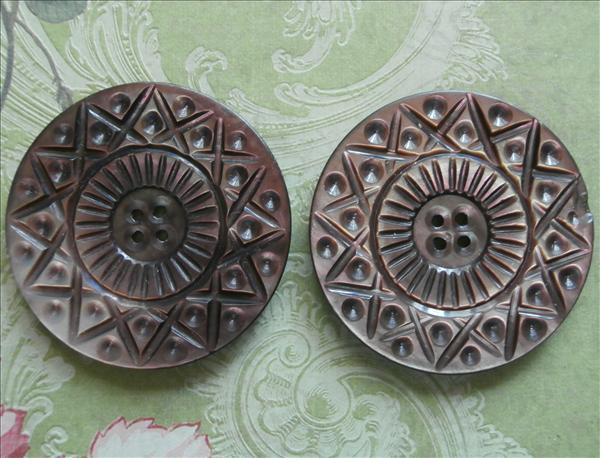 2 Big Carved Mother Of Pearl Buttons Antique Pair Matching