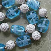 Aqua Art Glass Beads Necklace Faux Ivory Roses Vintage 1950s