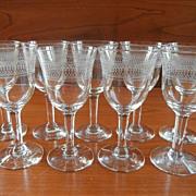 Sherry Glasses Needle Etch Stemware Vintage Set 9