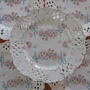 SOLD Bows Roses Reticulated China 6 Plates Pierced Antique