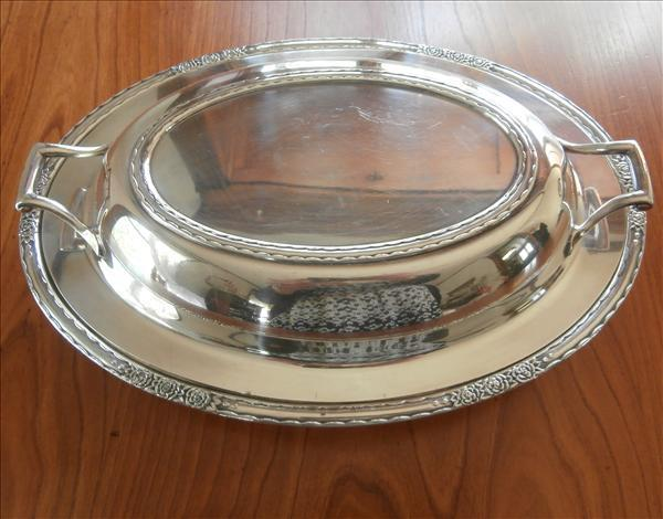 Silver Divided Vegetable Serving Dish Vintage Convertible Camille Pattern