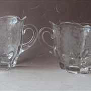 First Love Duncan Miller Creamer Sugar Elegant Glass Etched Vintage