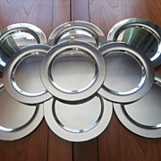 Silver Dessert Plates Cocktail Hors D'oeuvres Vintage Silver Oneida Set 9