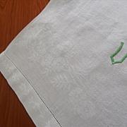 Monogram U Linen Damask Towel Very Vintage Green on White