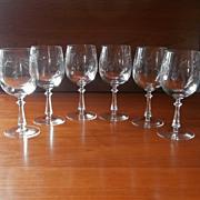Wine Glasses Stemware Vintage Set 6 Engraved Glass High Quality