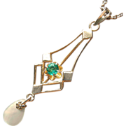 10K Gold Lavaliere Antique On Chain Necklace Tourmaline Chrome Green