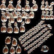 Chandelier Prisms Faceted Ball Bead Chain Set Vintage Fancy Brass Connectors