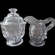Ashburton Flint EAPG Glass Creamer Covered Sugar Bowl Set Antique