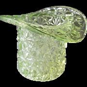 Duncan Vaseline Daisy Button Hat Toothpick Antique Glass