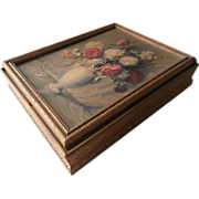 1920s Dresser Box Vintage Peonies Picture Top Shabby Charming