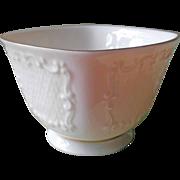 Lenox China Small Squared Bowl Vintage Cream Ivory Gold Pedestal