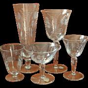 Cut Crystal Stemware Set Vintage Hungarian Wedding Wine Iced Tea 34 Pieces