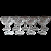 c1920 Roses Engraved Cocktail or Sherbet Stem Glasses Vintage