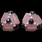 Earrings Beads Vintage 1950s Pink Black