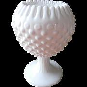 Fenton Ivy Bowl Vase Milk Glass Hobnail Crimped Rim Pedstal Rose Bowl