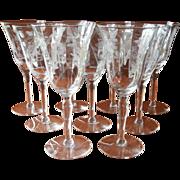 Wine Glasses Water Vintage Engraved Stemware 1940s 9
