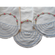 1920s Tablecloth Linen Hand Embroidery Vintage Pink Blue