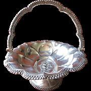 1840s Silver Basket Antique Fruit Pedestal Beaded Rim
