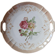 SOLD Pink Roses Antique China Serving Dessert Plate Taupe Airbrush