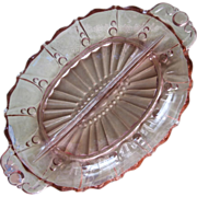 Pink Depression Glass Divided Relish Oyster and Pearl Anchor Hocking
