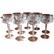 Cocktail Glasses Rock Sharpe Libbey Cut Glass Stemware 8 Vintage