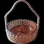 1920s Filigree Glass Relish Condiment Basket Dish Vintage Pink Amber