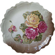Roses Big Serving Plate Antique China Pink Yellow Roses