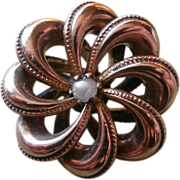 Knot Pin Faux Pearl Antique Classic