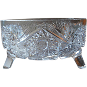 Antique Bowl Ferner Cut and Pressed Glass Three Footed
