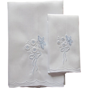 Marghab Butterfly Guest and Fingertip Towel Set Vintage Madeira