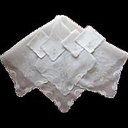 Organdy Madeira Tea Tablecloth Napkins Set Vintage Linen Appliqued
